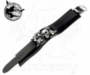 Alchemy Gothic Carpe Diem Skull Leather Wristband | Gothic Jewellery